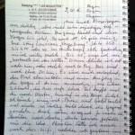 Eine handgeschriebene Seite in einem Ringbuch. Oben links der Stempel eines Campingplatzes.
