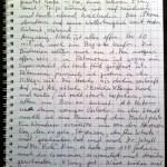Eine handgeschriebene Seite in einem Ringbuch.