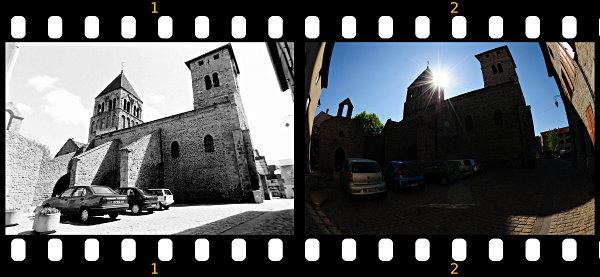 Zwei Fotos im Abstand von zehn Jahren zeigen eine Kirche in Weitwinkelaufnahme
