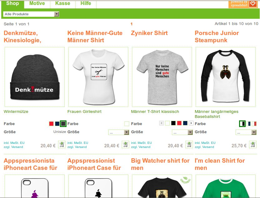 Screenshot von Irgendlinks T-Shirt Shop
