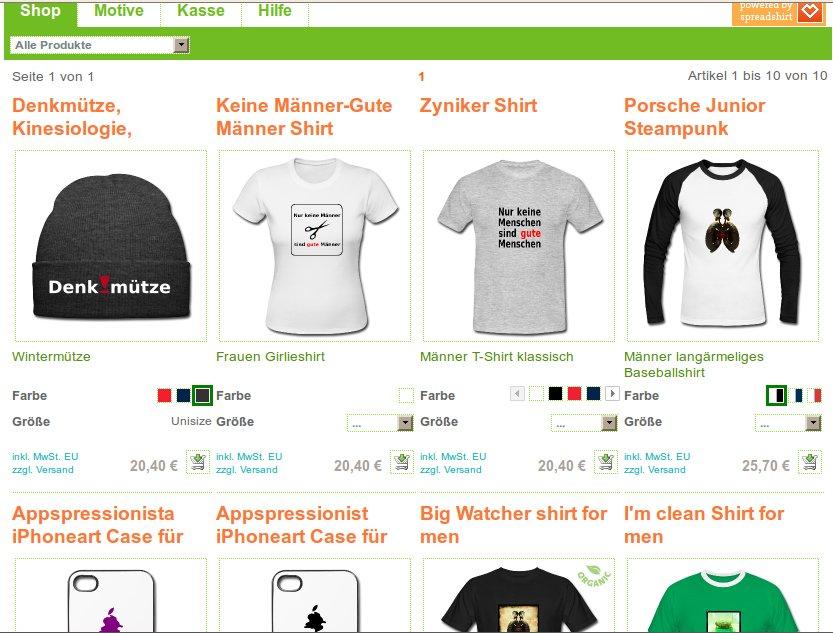 Screenshot von Irgendlinks T-Shirt Shop