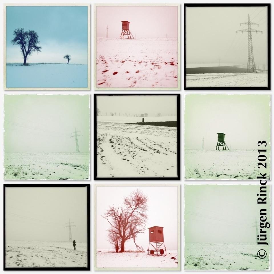 Montage von neun Bildern der Weißen Triesch im Winter 2013