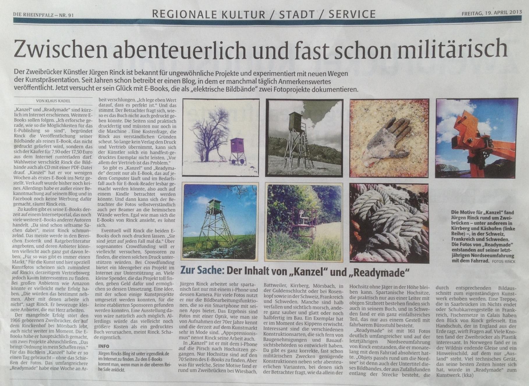 eBooks Kanzel und Readymade Rezension von Klaus Kadel in der Rheinpfalz