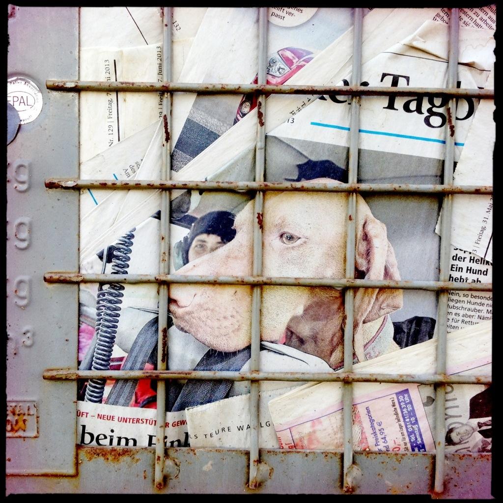 Collage Gitterboxen voller Altpapier
