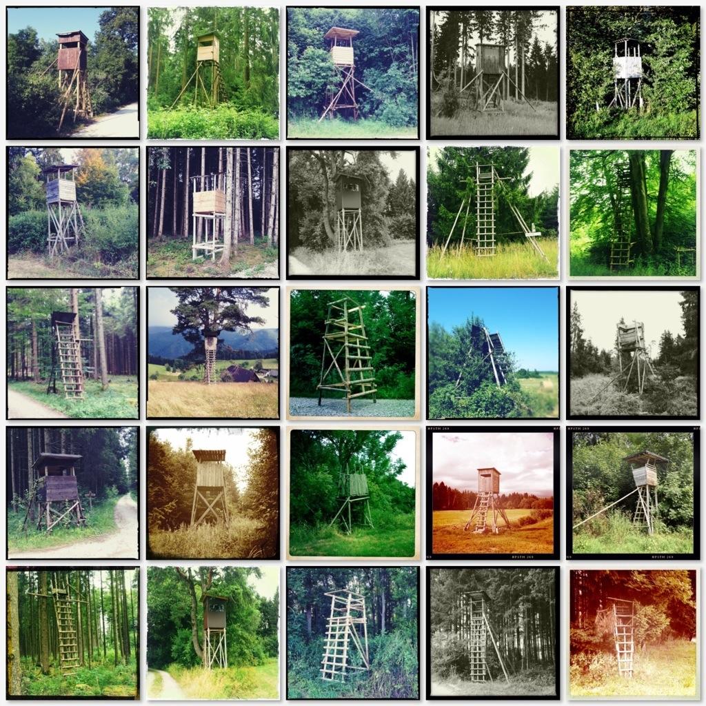Collage mit 25 Hochsitzen