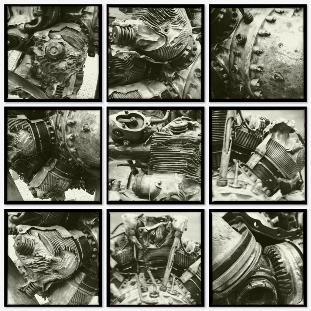 Technicollage - neun Ansichten eines Sternmotors mit Propeller im Technikmuseum Sinsheim