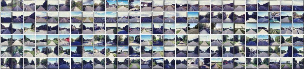 Viele kleine quadratische Straßenfotos, Grundton blaugrau in einem regelmäßigen Gitter angeordnet.