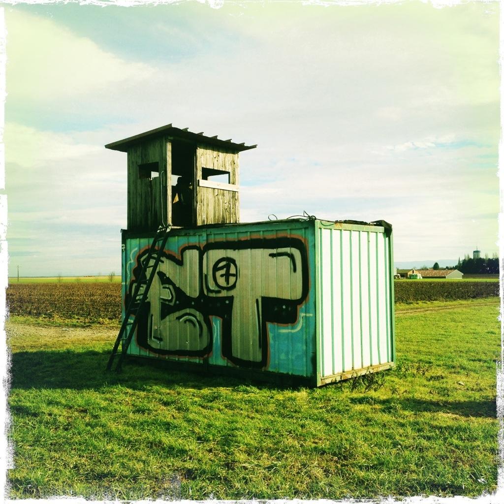 Kreative Hochsitzlösung auf einem Container bei Haguenau