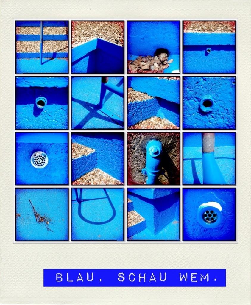 Blau schau wem Bildcollage eines Kneippbeckens