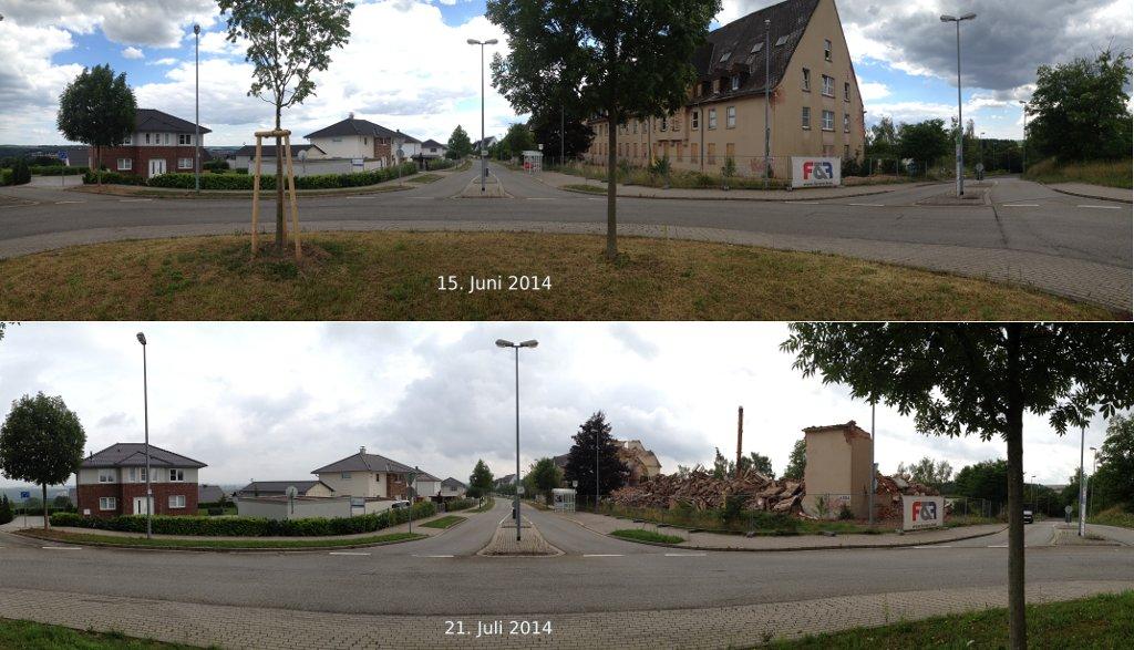 Weitwinkelbilder einer fluchtenden Straße und eines Gebäudeabrisses