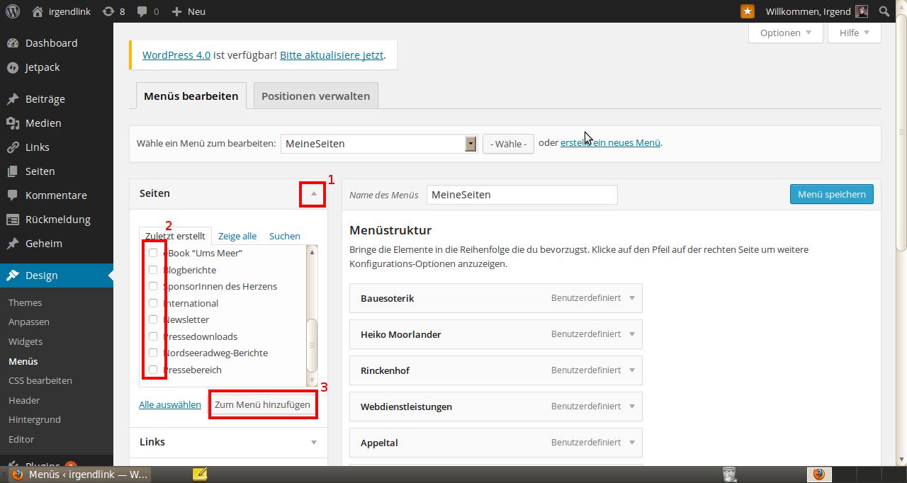 Wordpress Menü erstellen 3