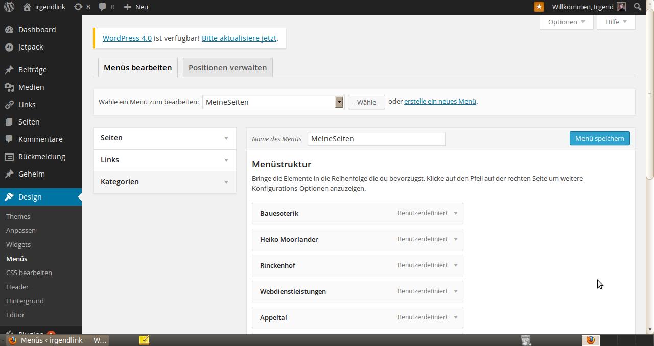 Wordpress Menü erstellen 1