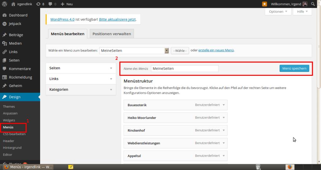 Wordpress Menü erstellen 2