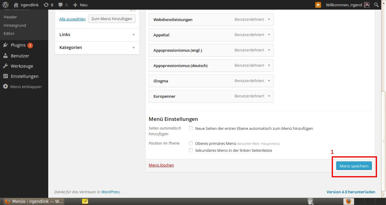 Wordpress Menü erstellen 4
