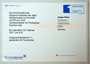 iDogma Postkarte 1.1 Rückseite