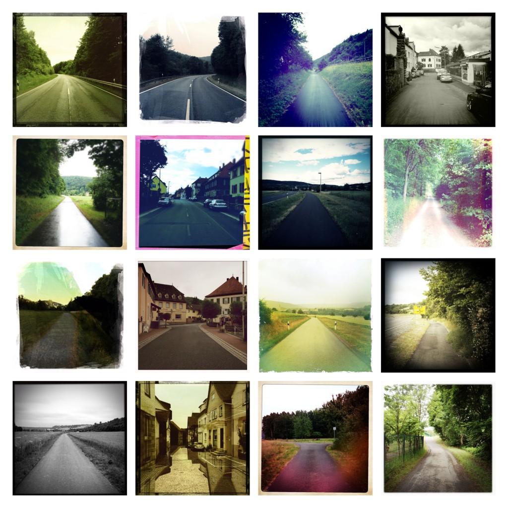 Kap Bildtafel 3 quadratisch Rückblicke variiernder Filter. 16 Einzelbilder Kilometer 320 bis 470
