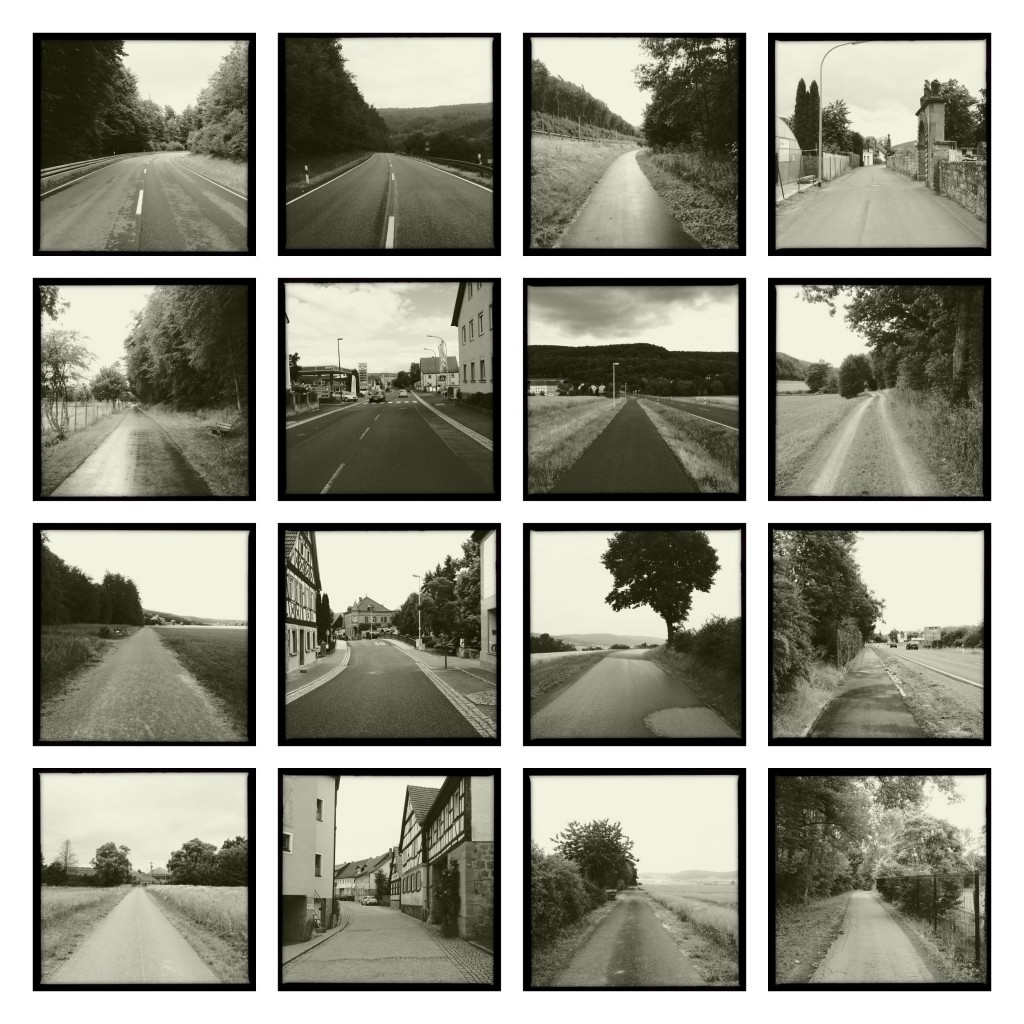 Kap Bildtafel 3 quadratisch schwarz-weiß. 16 Einzelbilder Kilometer 320 bis 470