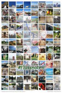 Poster mit 96 Bildern der Flussnoten-Reise rheinabwärts