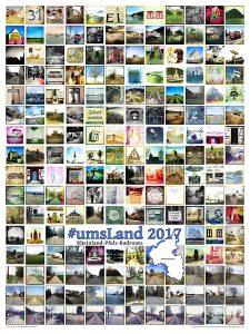 """Viele kleine quadratische Retroaufnahmen von Landschaft, Menschen und Orten in Rheinland-Pfalz bilden die Struktur eines bunten Bildes. Darauf der Schriftzug """"UmsLand"""" und eine Silhouette des Bundeslandes und der Radroute, die einmal rund ums Land führt."""