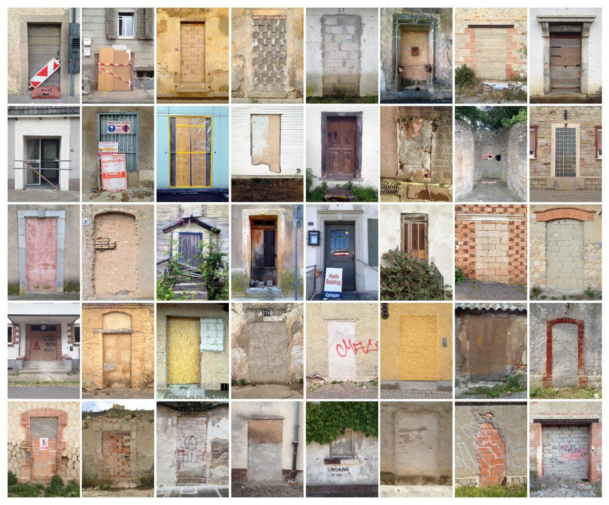 Du kommst hier nicht rein. Bildcollage mit 40 zugemauerten oder verbarrikadierten Türen.