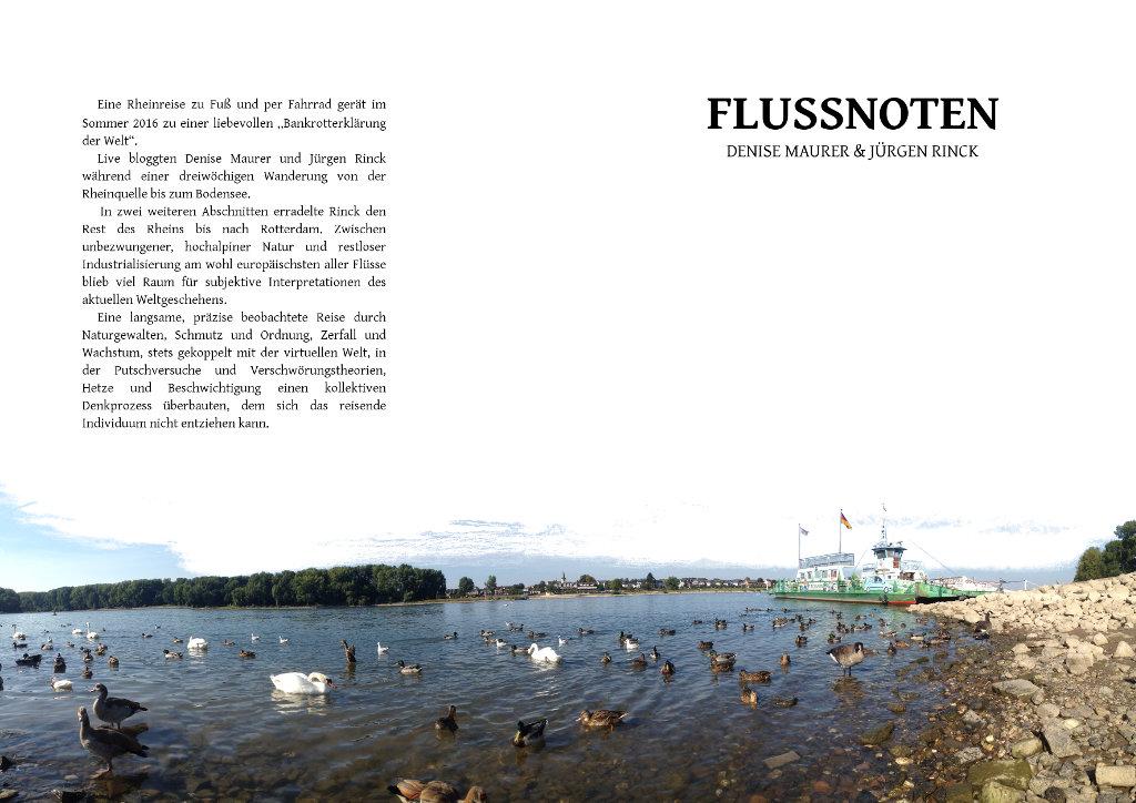 Buchcover mit der Aufschrift Flussnoten und einem Klappentext. Hautmotiv ist eine anlandende Rheinfähre, im Vordergrund Wasservögel.