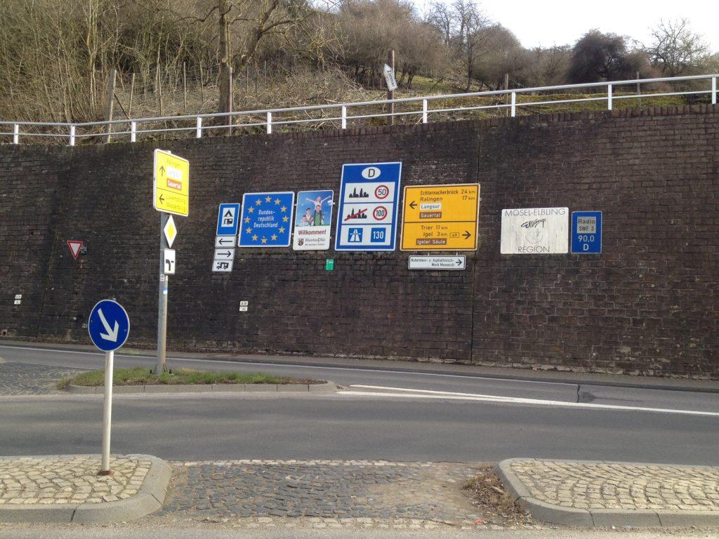 Grenze zu Luxemburg bei Wasserbillig.