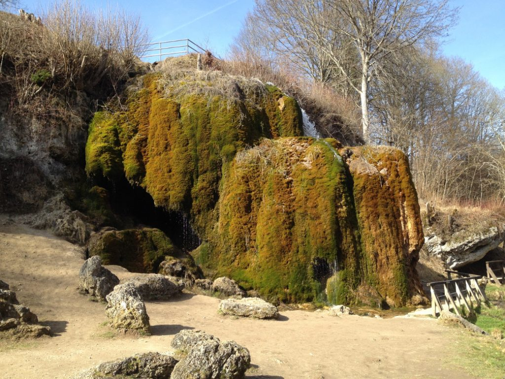 Der wachsende Wasserfall nahe Niederehe konnte erst entstehen, als durch den Bau der Bahnlinie viele Quellen vereint wurden. Moos und Kalk bilden seine stetigwachsende Grundlage. Die Bahnlinie ist heute ein Radweg.