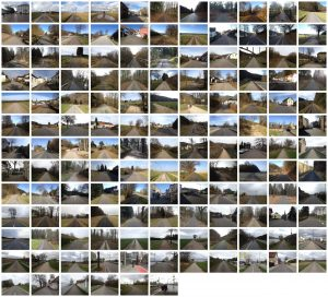 Im Raster angeordnete Fotos von Straßen, stets Richtung Horizont fluchtend von der Straßenmitte aus gesehen.