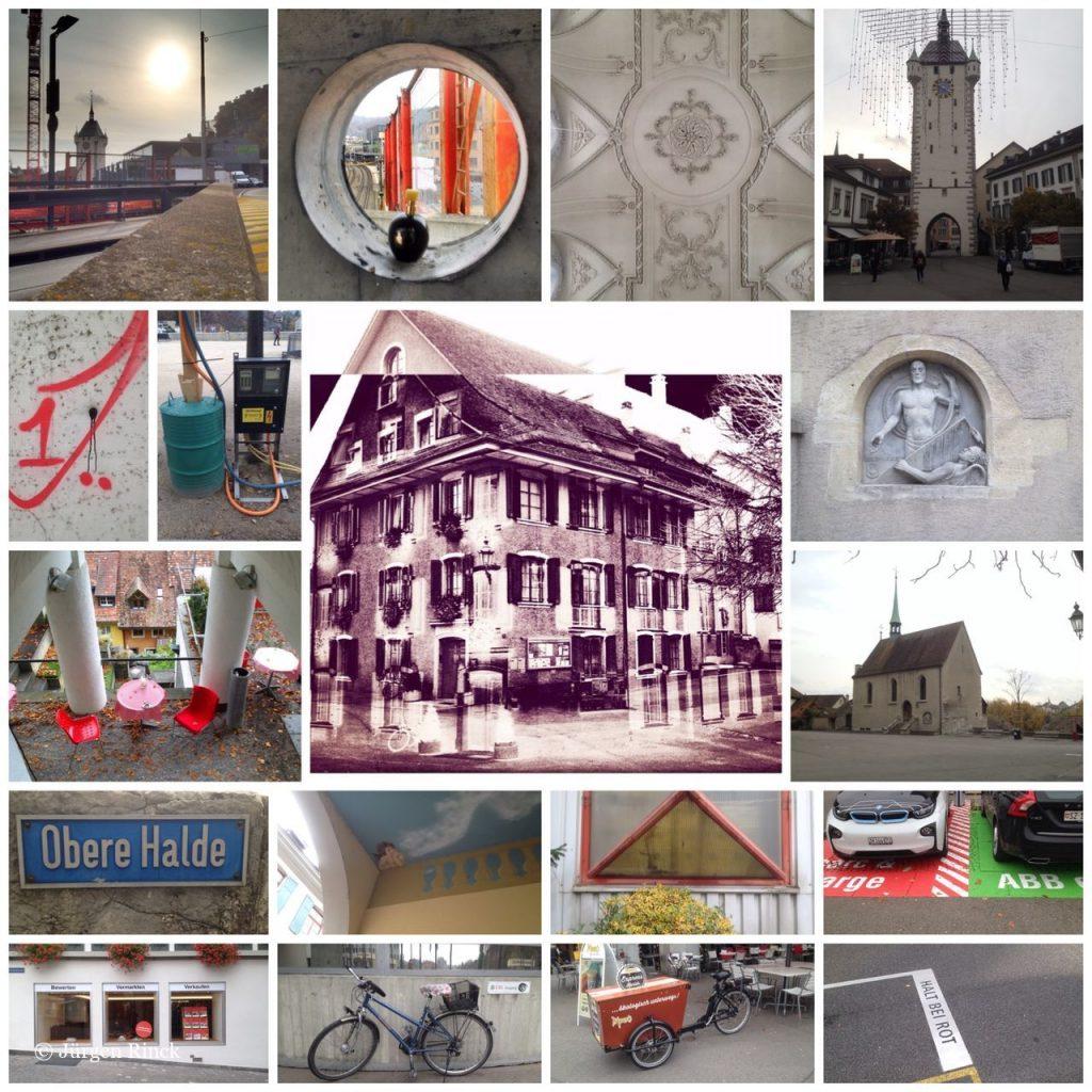 Bildcollage mit Szenen aus Baden, Häuser, Müllsäcke, Kirchen, Graffitys