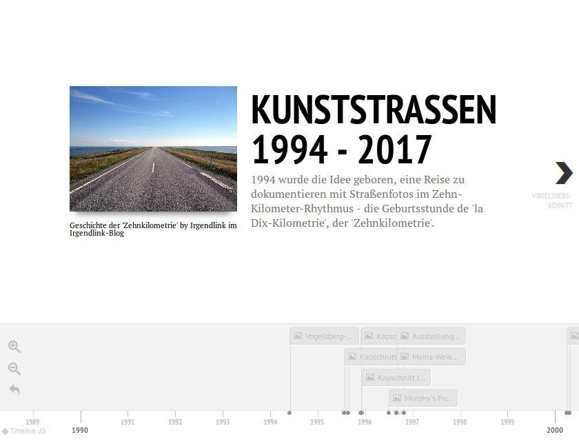 Ein nüchternes Straßenbild einer flachen, dänischen Landstraße, blauer Himmel. Das Bild ist umgeben von Texten verschiedener Formate. Unten sieht man eine Zeitlinie mit Jahresangaben und Ereignissen an kleinen Fähnchen.