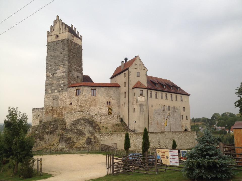 Eine mittelalterliche Burg, sandfabern auf Felsen mit gut erhaltenem Turm und Wohngebäude.