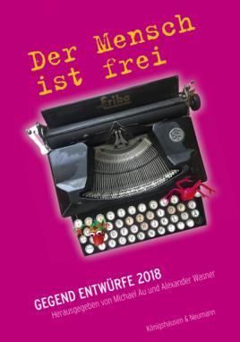 Buchcover mit Buchtitel, Grundfarbe violett. Hauptmotiv eine uralte Schreibmaschine von oben auf die Lettern fotografiert.