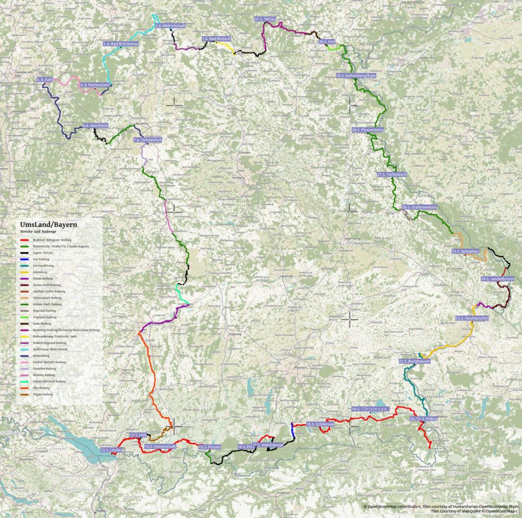 Radwegekarte Bayerns mit bunt eingezeichneten Linien der grenznahen Fernradwege und Beschriftung der Tagesetappenziele.
