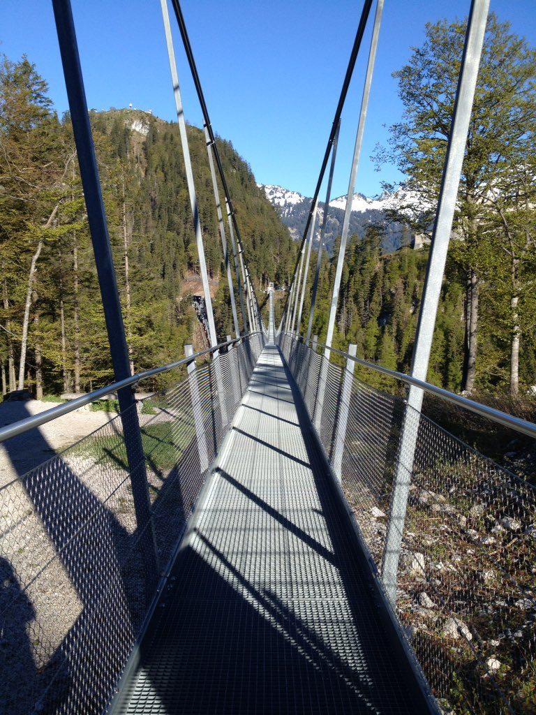 Auf der Hängebrücke Highline 179 – rechts und links Metallstreben, unter den Füßen Gitter. Ringsherum Wälder und Berge unter blauem Himmel.