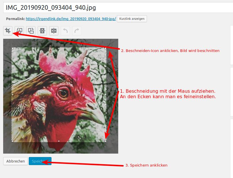 Screenshot des Dialogs Bild bearbeiten im WordPress-Backend