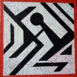 Schwarzer Scherenschnitt auf strukturiertem Grau mit rotem Rand. Eine Figur mit rundem Kopf ist erkennbar.