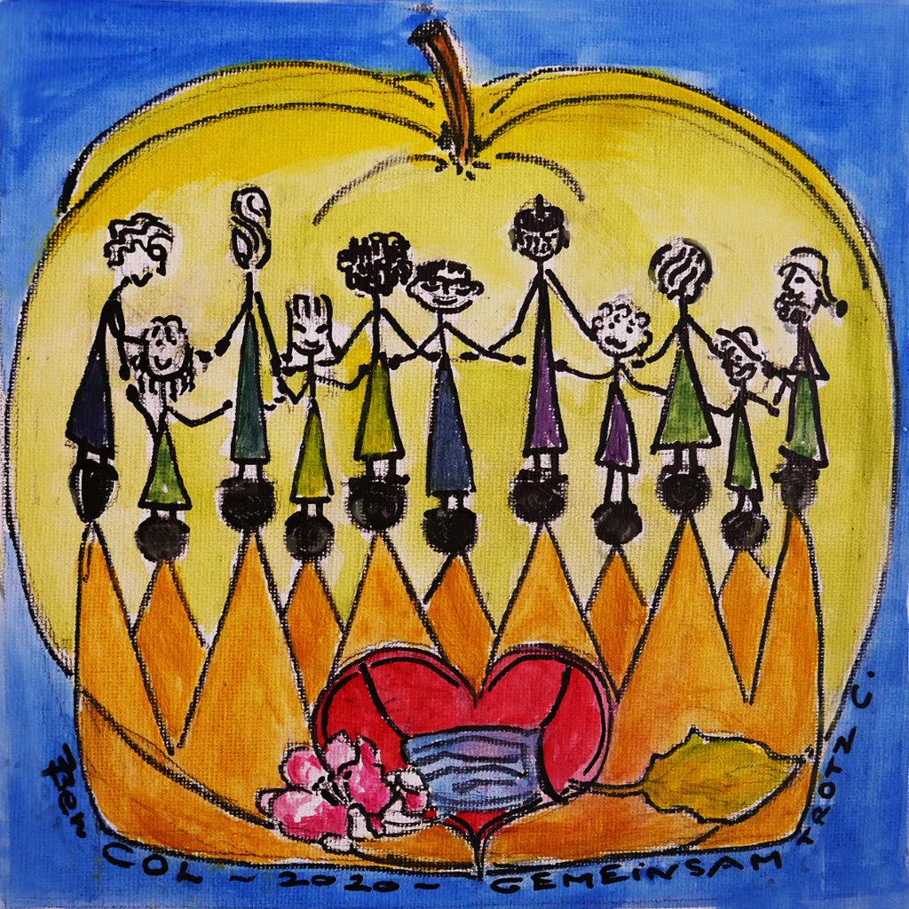Gruppe von Strichmännchenzeichnungen, die einander an den Händen halten vor einem Apfel auf blauem Grund. Darunter die Schrift Col 2020 Gemeinsam trotz C.