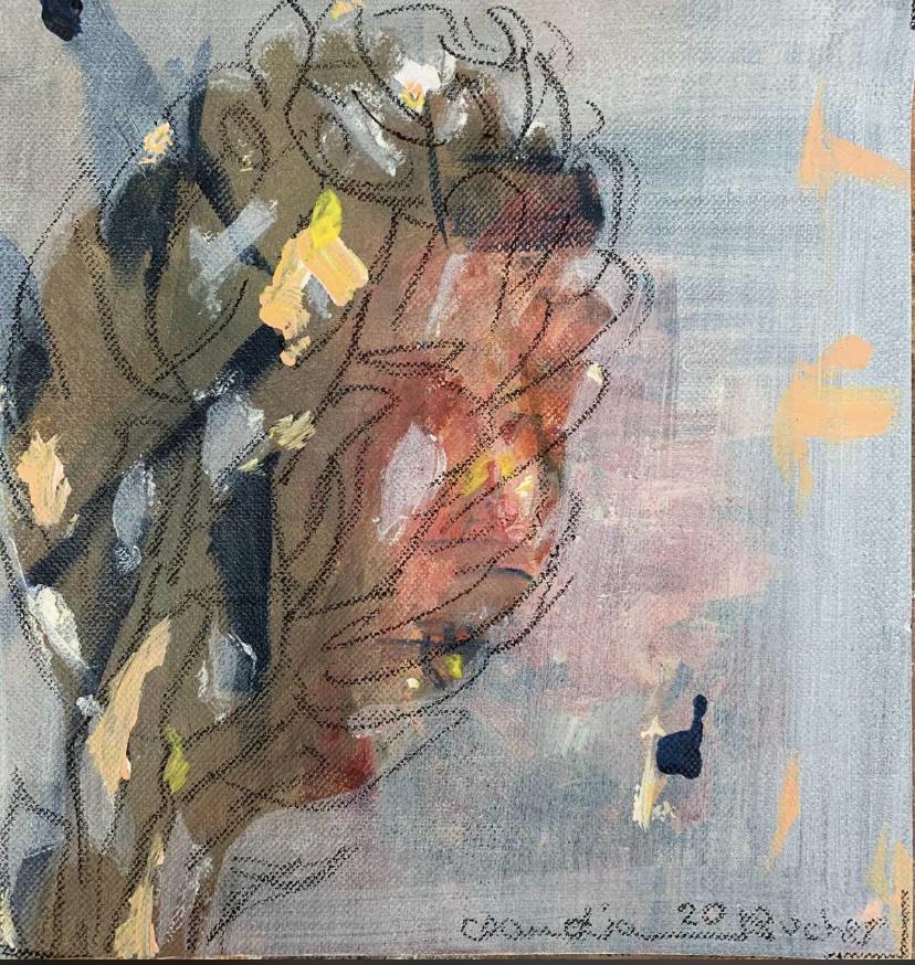 Abstraktes Gemälde und Zeichnung eines Baums in Braun- und Grautönen.