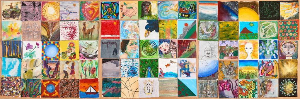 75 quadratische gleichgroße Gemälde in fünf Reihen und 15 Spalten angeordnet. Unterschidelichste Motive von Landschaft über Portrait bis Abstrakt.