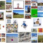 Collage mit vielen bunten Postkarten, unregelmäßig gesetzt. Zum Beispiel: Ein Fisch mit Kochmütze prang prominent in der Bildmitte.