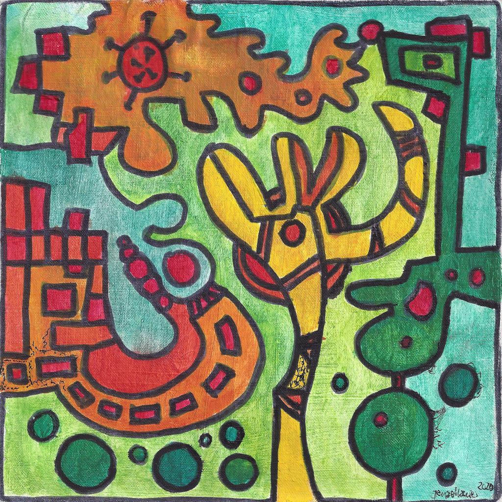 Grüne, gelbe und rote Farbtöne dominieren dieses strukturierte, abstrakte Gemälde, in dem man Figuren erkennen kann und ein rote Virusgrafik am oberen Bildrand.