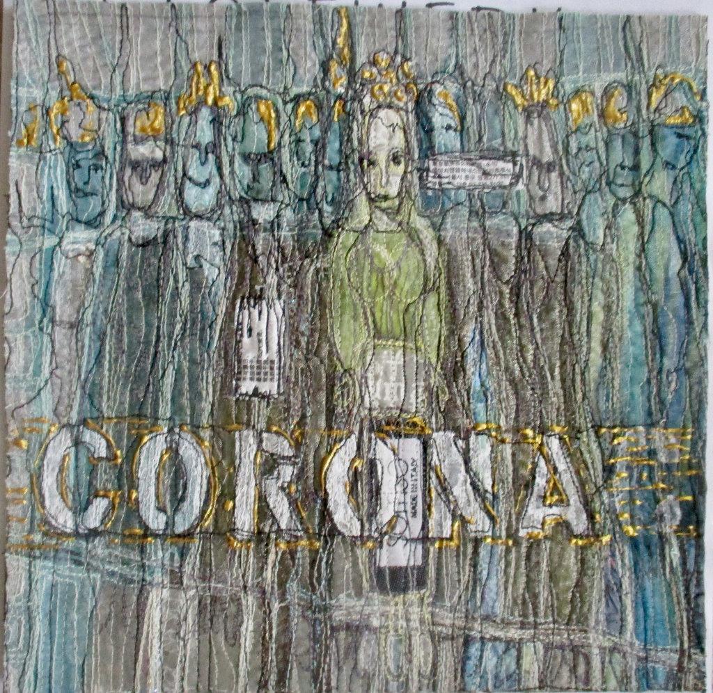 Grau bis türkis löst sich eine Menschnmenge mit goldenen Kronen aus dem Hintergrund. Schriftzug Corona in dicken weißen Lettern.