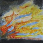 Wie Feuer, das von links aus dem Dunkel weht, wirkt das abstrakte Gemälde mit schwarzem Rand.