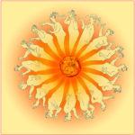 Rings um eine orangerote Sonnes strahlen menschliche, gezeichnete Figuren ein bisschen Im Lorit-Stil.