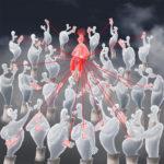 Blass wie Geister versammeln sich viele Menschen um einen roten, sitzenden Menschen mit abstehenden Haaren. Sie tragen Handys, die mit roten Linien zu dem zentralen Menschen verbunden sind.
