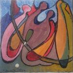 Eine Ansammlung abstrakter Figuren, die wie kreuz und quer taumelnde Kegel aussehen. Harte scharze Konturen trennen gelbliche bis ockerfarbene Flächen, die sich gegen links oben in bläulicher Sphäre verlieren.