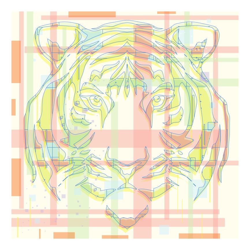 Die bläuliche Kontur eines Tigerkopfs vor einem rosa karierten Muster.
