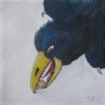 Ein Rabe im Sturzflug, nur zur Hälfte bis zum Hals zu sehen, trägt grimmig schauend eine kleine Kugel im Schnabel.