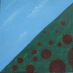 Diagonal von links unten nach rechts oben geteiltes Quadrat mit bläulich verwölkter SAchräge rechts und grüner Schräge links, in der kugelförmige symbolisierte Riesenviren liegen.