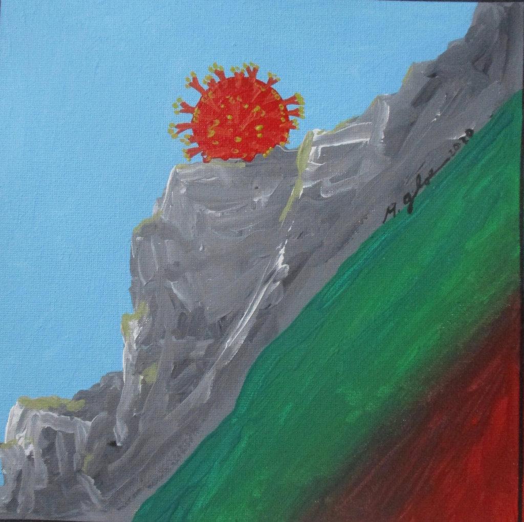 Schräge Streifen von rechts unten nach links oben. Dunkelrot, Grün, grau mit Berg- und Felsstruktur. Darauf auf einem Satteö ein leuchtend roter Kugelstern unter hellblauem, schrägem Himmel.